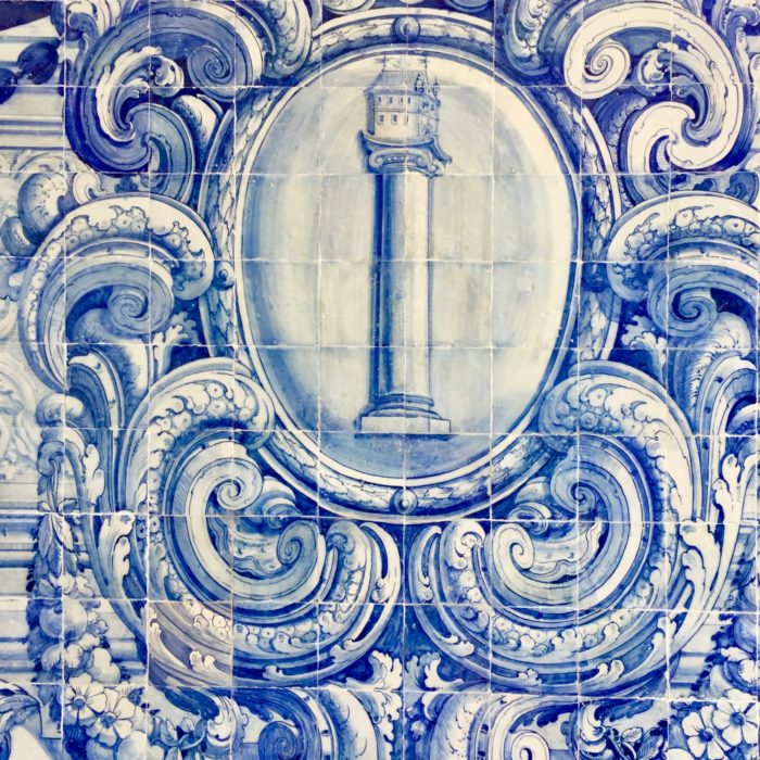 Azulejos in Lisbon blue tower blue and white