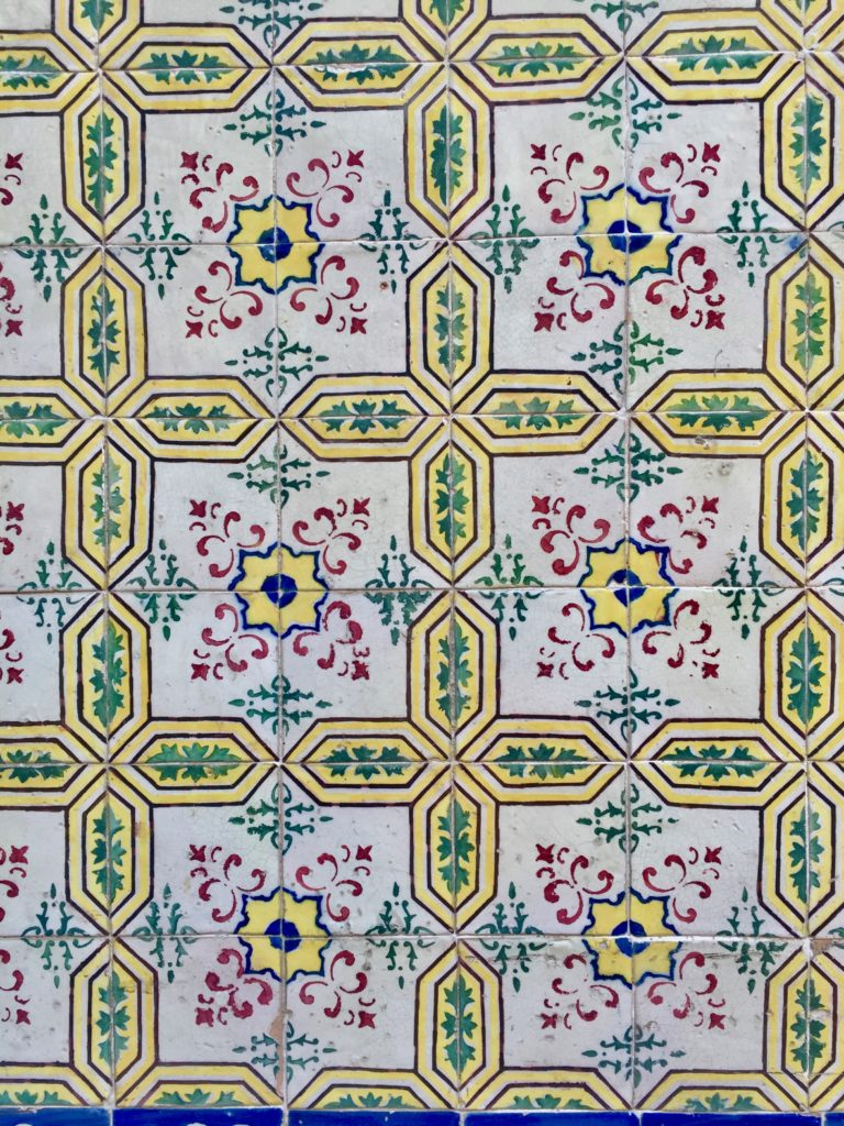 Azulejos in Lisbon yellow pink flowers big