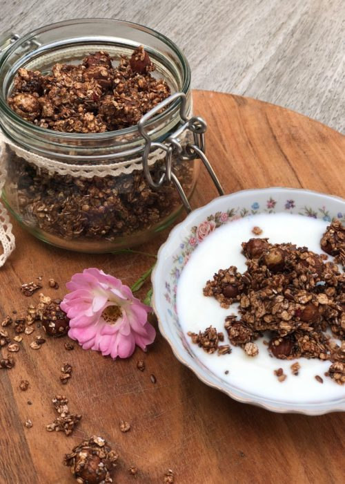 Homemade Granola ~ the easy way! tray with granola and bowl