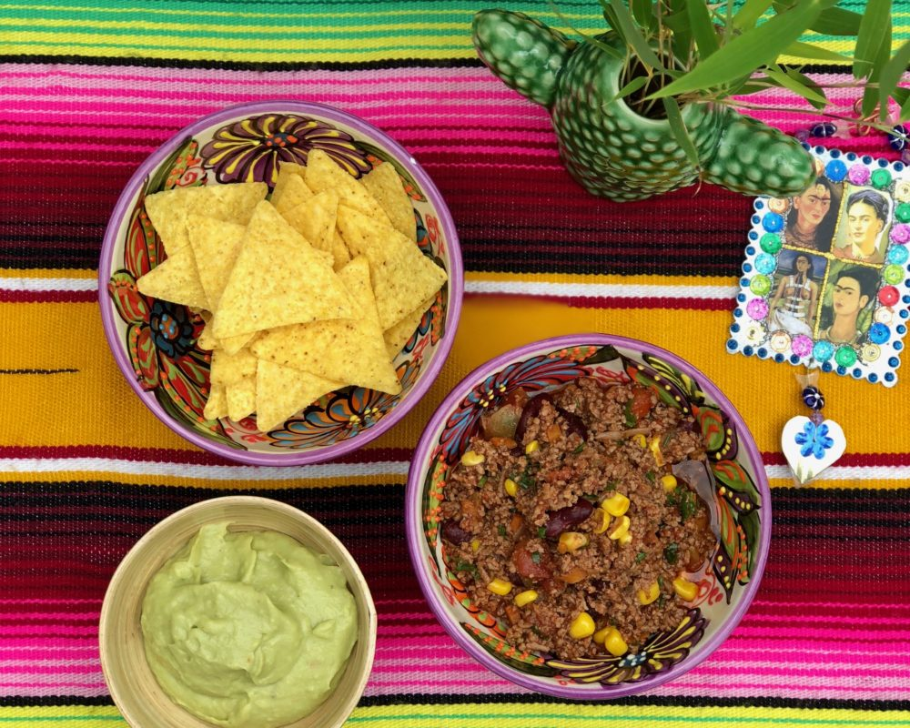 Chilli con carne ~ a spicy delight! Chilli, tacos, guacamole mood from top